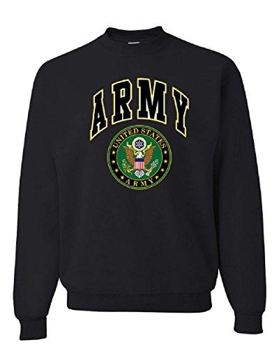(United States Army Crew Neck Sweatshirt Army Crest Patriotic Black L)