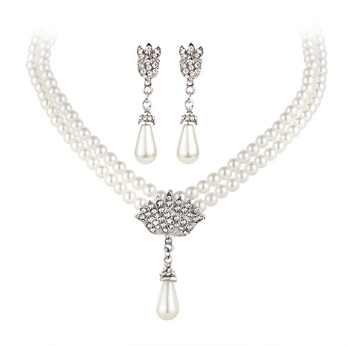 Bridal Bridesmaid Christmas Jewelry Sets for Women Girl Necklace and Earring Set Drop Faux - Earrings Bridal Pearl Faux