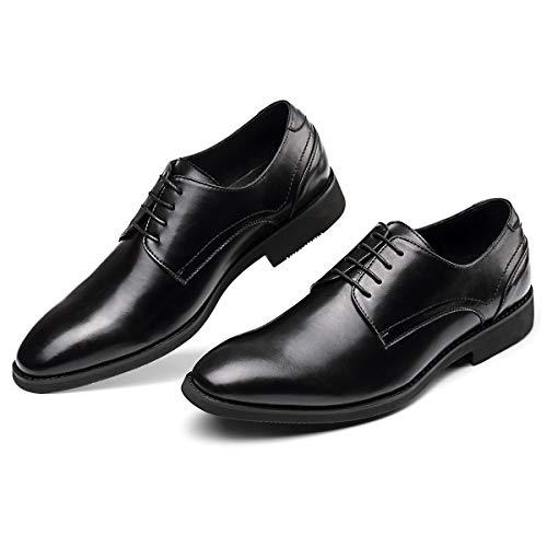 Men's Black Dress Shoes Formal Lace Up Blucher Oxford Shoes 10.0 Black Italian Design Dress Shoes