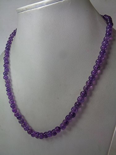 Cut Amethyst Stone (6mm Natural Amethyst Round Beads Necklace,18 Inches Necklace, February Birthstone Necklace, Gift For Her, Christmas Gift)