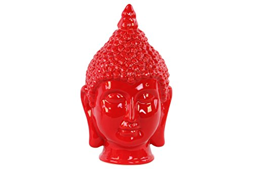 Buddha Head Statue Ceramic (Urban Trends Ceramic Buddha Head with Pointed Ushnisha, Gloss Red)