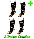 HealthyNees 2 Pairs Combo Copper Infused Compression Socks Helps Reduce Swelling Pain Traveling Anti-Fatigue Feet Support
