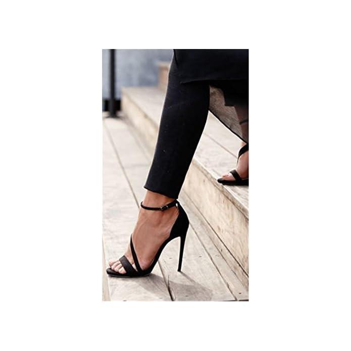 Donna Sexy Sandali Stiletto Alto Tacco Scarpe Scamosciato Caviglia Cinghia Fibbia Nero Lavoro Festa Vestito Discoteca Eur 37 Uk 4 5-5