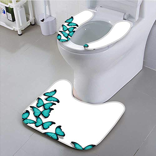 aolankaili Toilet Cushion Suit Butterflies Morphs Pattern Spring Sunny Day Warm Weather Free Enjoyment Non Slip -