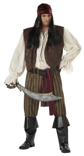California Costumes Men's Rogue Pirate Costume,Brown,P (48-52) - Pirate Costumes Male