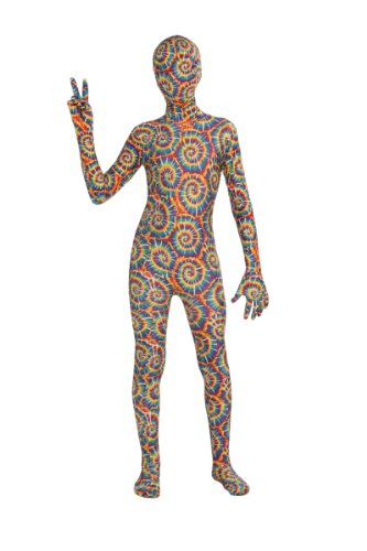 [Forum Novelties Women's Teen Disappearing Man Patterned Stretch Body Suit Costume Tie Dye, Rainbow,] (Tie Dye Dress Costume)