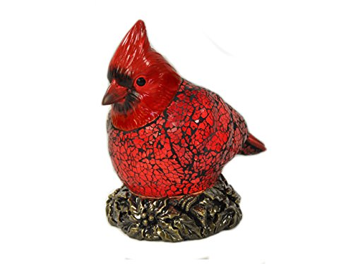 Tiffany Table Cardinals Lamp (Red Cardinal Cards Red Bird Crackle Glass Tiffany Style Desk Lamp 1001B)