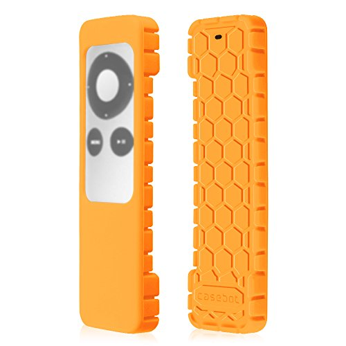 Fintie Protective Case for Apple TV 2 3 Remote Controller - Casebot [Honey Comb Series] Light Weight [Anti Slip] Shock Proof Silicone Sleeve Cover, Orange (Apple Tv 2nd Gen Remote)