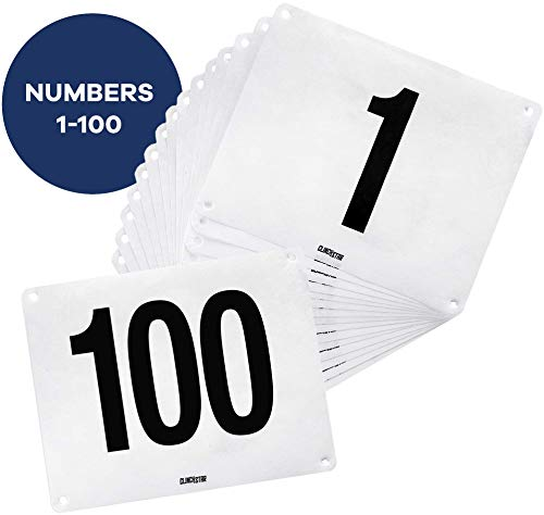 (Clinch Star Running Bib Replacements - Large Numbers for Marathon Races and Events - Tyvek Tearproof and Waterproof 6 X 7.5 Inches (Numbers 1-100))