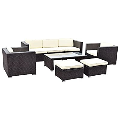 TANGKULA 8 Piece Outdoor Furniture Set Patio Garden Backyard Wicker Rattan Cushioned Seat Sectional Coversation Sofa Set, with Glass Top Coffee Table and Ottomans, Black