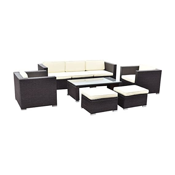 Tangkula 8 Piece Outdoor Furniture Set Patio Garden Backyard Wicker Rattan Cushioned Seat Sectional Coversation Sofa Set, with Glass Top Coffee Table and Ottomans, Black - ❀Upgraded Quality with Concise Design: Equipped with 2 single sofa, 2 corner sofa, 1 armless sofa, 2 ottomans, and 1 coffee table, it is made up with galvanized steel frame and rattan material with thick yet soft sponge cushions ensuring a long lifetime. Its upgraded quality surely guarantees you a long lasting using satisfaction. ❀Easy Carry for Its Lightweight: Made of lightweight rattan material, it can be carried easily and labor-efficiently to the desired place. Its compact structure and beautiful texture can surprisingly highlight your patio or poolside decor, perfect for a big family party or gathering for a conversation. ❀Easy Cleaning and Quick Wash: You can clean it easily with just a wipe when there is water strain on its tempered glass. The separable and removable seat cushions also enable you a quick wash. It can be well entertain your guests or friends. You can spend a wonderful time with each other. - patio-furniture, patio, conversation-sets - 41gcusVQITL. SS570  -