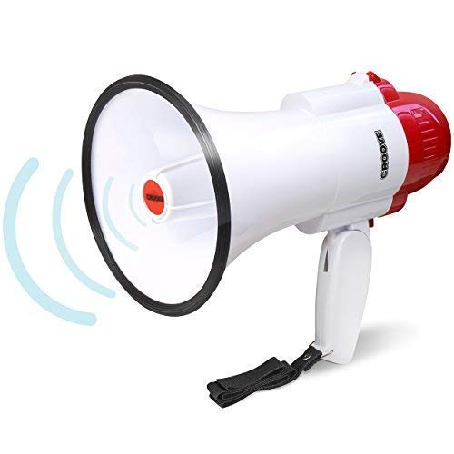 Croove Portable 30 Watt Bullhorn/Megaphone with Siren & Cheering - 800 Yard Range - Powerful and Lightweight ()