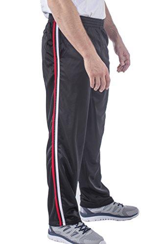 (Vertical Sport Mesh Side Pockets Running Men's Track Pants (X-Large, Black Basic) JP14)