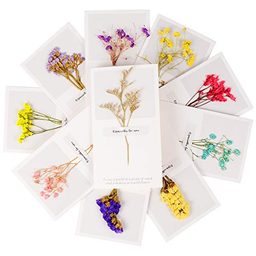 Plaviya Mom Day Gift Dried Flowers Greeting Cards, 10 Pieces Greeting Cards Thank You Cards Vintage Handmade Craft Note Card Thanks Gifts Card for Birthday Party Invitation Card