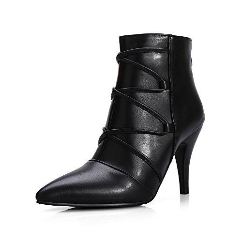 AgooLar Damen Niedrig-Spitze Reißverschluss Blend-Materialien Hoher Absatz Stiefel, Schwarz, 35