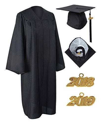 GraduationService Matte Gown Cap Tassel 2018 Unisex , Black, -
