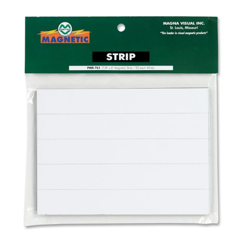 Board Visual Planning Magna - Magna Visual PMR-761 Magnetic Write-on/Wipe-Off pre-Cut Strips 7/8h x 6w, White, 25/Pack