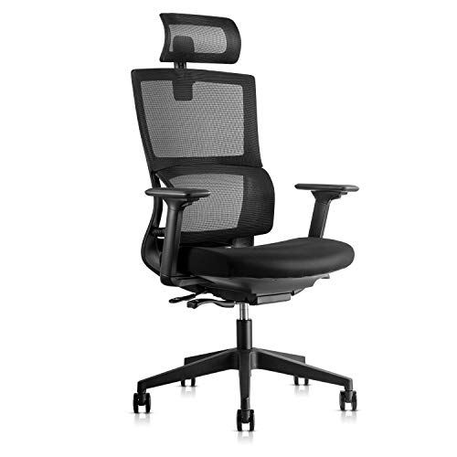 Adjustable Ergonomic Computer Office Chair, High-Back Desk Chair with Lumbar Support, Sliding Thick Seat, Breathable Mesh Back and 3D Armrest, Swivel Task Chair