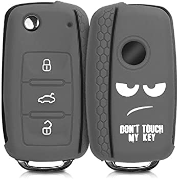 Dont Touch My Key White//Light Grey//Black kwmobile Car Key Cover for VW Skoda Seat Silicone Protective Key Fob Cover for VW Skoda SEAT 3 Button Car Key