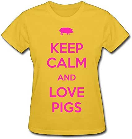 Keep Calm And Love Pigs Women's O-Neck Printed T-Shirt