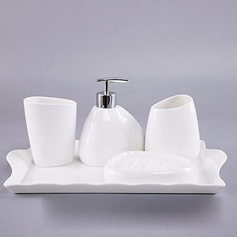 Amazon Com Simple Dumb White Ceramic Bath V Kit Ensuite Four Piece Vanity Set Bathroom Suite E Home Kitchen