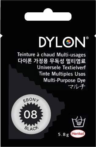 Dylon multiusos Dye # 8 negro de madera de ébano de color 5.8 G. para algodón, cuna, lana, nailon, madera, botón, plástico, carcasa, plumas, flores ...