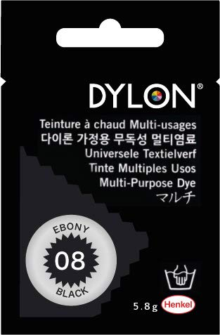 Dylon Multi-purpose Dye#8 Ebony Black Color 5.8 G. For Cotton, Linin, Wool, Nylon, Wood, Button, Plastic, Shell, Feather, Dried Flower Etc.