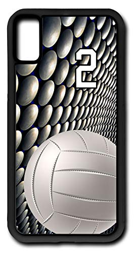 Molten Lite Volleyball - iPhone X Case Volleyball V036Z Choice of Any Personalized Number Phone Case by TYD Designs in Black Rubber with Team Player Jersey Number 2