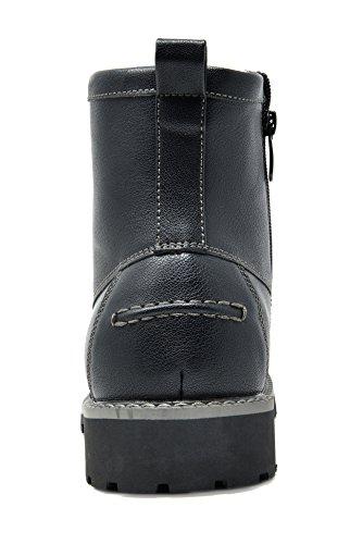 Bruno Marc Men's Stone-05 Black Motorcycle Combat Dress Oxford Boots Size 10.5 M US