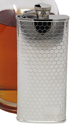 5 oz Discrete Boot Hip Alcohol Liquor Flask (Honeycomb) Made from 304 (18/8) Food Grade Stainless ()
