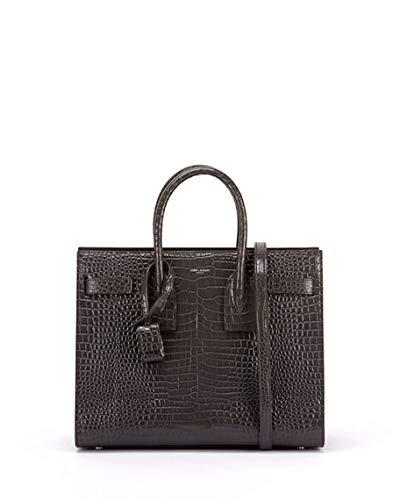 5ce45568a784 Amazon.com: Saint Laurent Sac de Jour Small Crocodile-Embossed Satchel Bag  made in Italy (Asphalt): Shoes