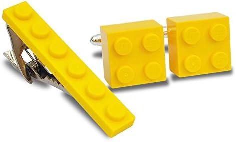 Juego de gemelos y clip de corbata hechos a mano de Lego® Ladrillos (amarillo) Boda, Novio, Hombre Novedad, Bolsa de regalo: Amazon.es: Joyería