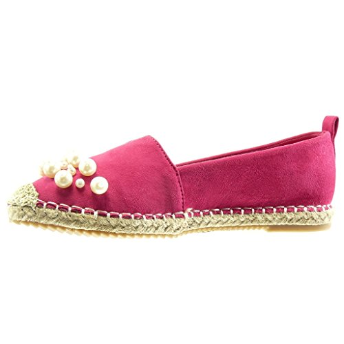 Angkorly - Chaussure Mode Espadrille Mocassin slip-on femme perle bijoux corde Talon bloc 2 CM - Fuschia