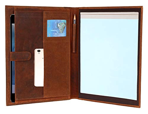- Handmade GENUINE LEATHER Business Portfolio by Rustic Town | Professional Organizer Men & Women | Durable Leather Padfolio with Sleeves for documents and notepad (Brown)