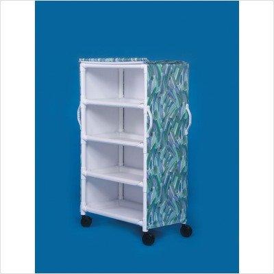 Deluxe 4 Shelf Linen Cart Spacing Size: 16'', Mesh Cover Color: Blue