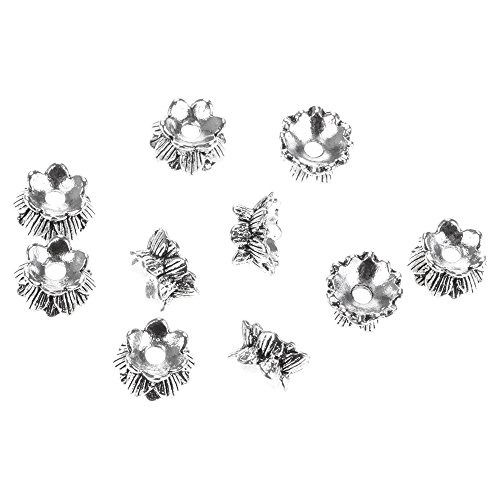 Huayang| Vintage Silver Plated Alloy Daisy Spacer Beads 6-10mm, Antique Silver Mixed Style Alloy Flower Bead Caps For Making Jewelry for Jewelry Making (style - Caps Daisy Bead
