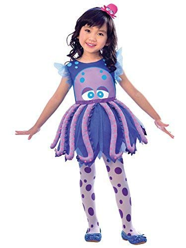 Girls Childs Cute Purple Blue Octopus 3 Piece Sea Creature Animal Water Themed Carnival Fancy Dress Costume Outfit 2-8 Years (7-8 Years)]()
