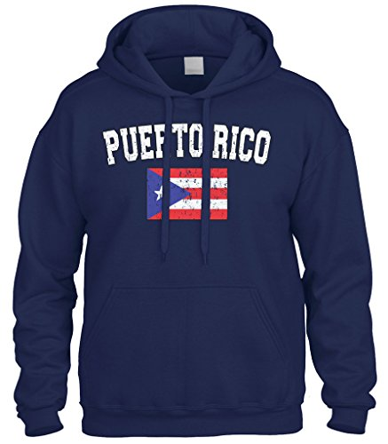fan products of Cybertela Faded Distressed Puerto Rico Flag Sweatshirt Hoodie Hoody (Navy Blue, Large)