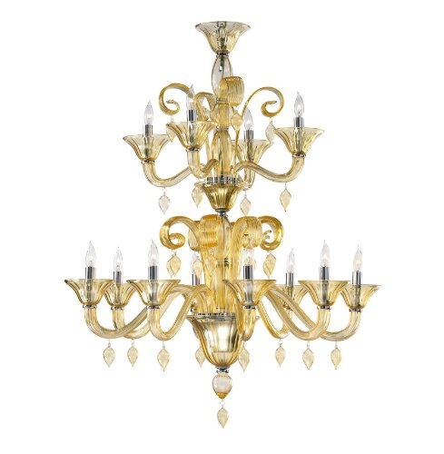 Kathy Kuo Home Treviso 12 Light 2 Tier Cascade Amber Murano Glass Chandelier