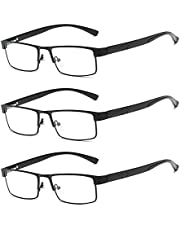panthem 3 stuks leesbril heren rechthoekig frame metaal ultralichte leesbril, volledige rand lichte bril, zichthulp ooglook bril leeshulp voor dames van 1.0 1.5 2.0 2.5 3.0 3.5 4.0