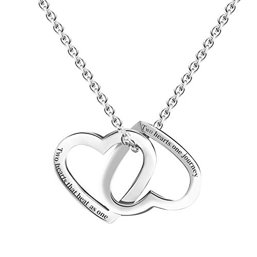 (niyokki Double Heart Necklace for Women Girls, Rose Gold-Plated Stainless Steel Heart Pendant Necklaces for Girlfriend Wife, Gifts for Valentine's Day (Silver))