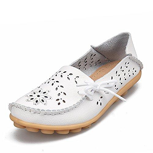 Für Slipper Leder Schuhe Lässige Fahren Hausschuhe Slip Echtes On Flache Weiß Ausschnitt Mutter Frauen Fereshte g7Hq1x