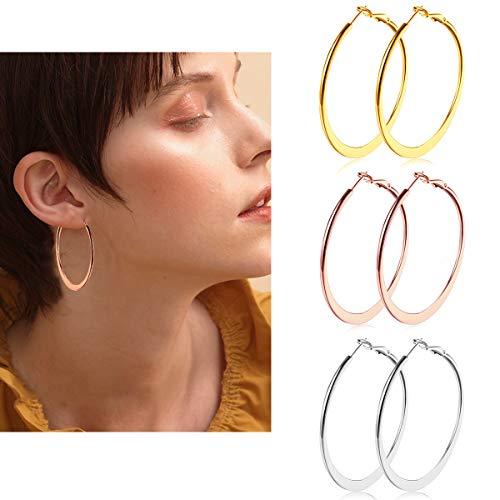 3 Pairs Big Hoop Earrings, Gold Plated Rose Gold Plated and Silver Stainless Steel Flattened Hoop Earrings for Women Girls (40mm) (Child Hoop Earrings)