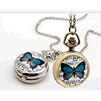 sea-junop Women Round Music Butterfly Necklace Pocket Watch