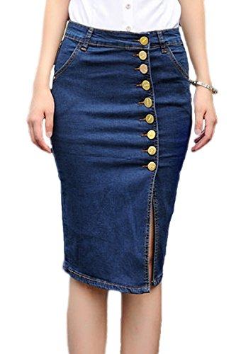Women Elegant Button Down Stretchy Skinny Midi Slit Denim Jeans Skirt Plus Size