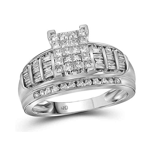 Dazzlingrock Collection 10kt White Gold Womens Princess Diamond Cluster Bridal Wedding Engagement Ring 1.00 Cttw - Size 6.5 -  90598