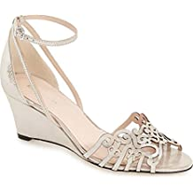 Klub Nico Kingston Ankle Strap Wedge Sandal, Silver Gloss