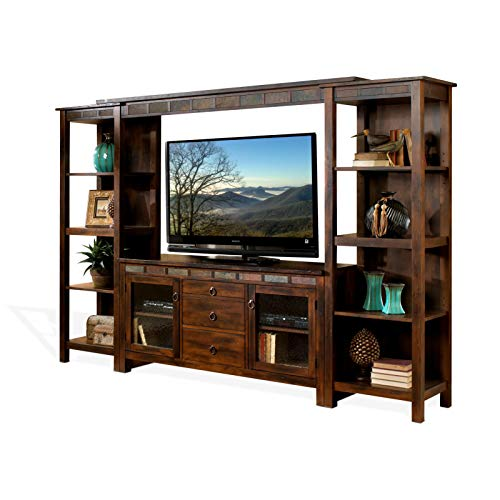 (Sunny Designs K3403DC Santa Fe Entertainment Wall with Bridge, Two Piers and TV Console)