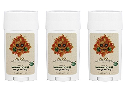 North Coast Organics - All Natural Organic Deodorant Al Sol - 2.5 oz. (Pack of 3)