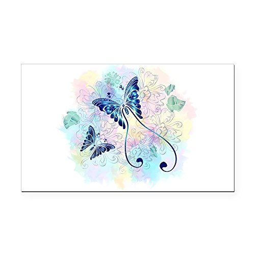 Rectangle Car Magnet Large Long Tailed Butterfly with Flowers